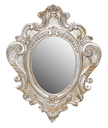 Biscottini Specchio Specchiera da parete stile Shabby in legno con finitura argento anticato misure L31xPR4xH39 cm produzione Artigianato Fiorentino Made in Italy