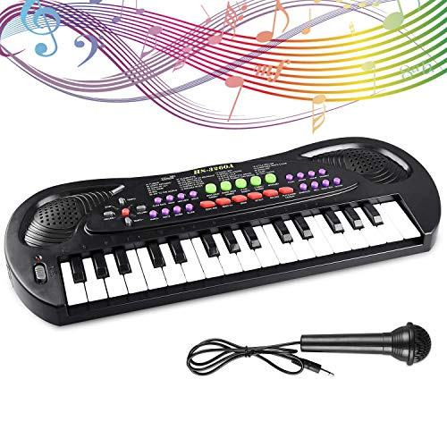 Liberty Imports Kids Piano Keyboard 32 Keys Portable Electronic Musical Instrument Multi-Function Keyboard Teaching Toys Birthday Christmas Day Gifts for Kids (Black)