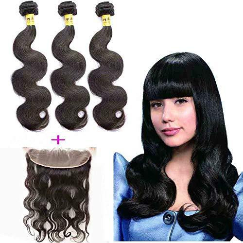 Queengirl Bundles malaisien de cheveux humains avec la vague de corps frontale non transformée vierge de cheveux d'extension de trame fermeture de den