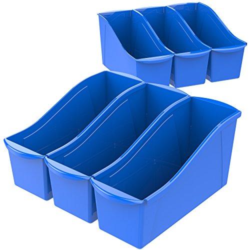 """Storex Large Book Bin, 14.3 x 5.3 x 7"""", Blue, Case of 6 (71101U06C)"""