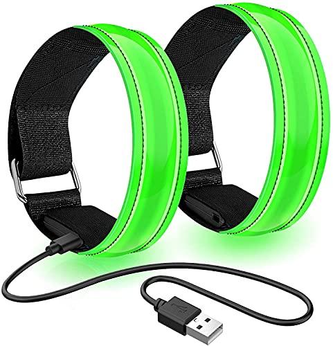 Henwsi Wiederaufladbar USB Reflektorband LED-Licht Armband,Reflektor Armbänder Nacht Sicherheits (Blau/2 Stück)