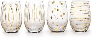 Mikasa Cheers Set Of 4 Stemless Wine Glasses, Metallic Gold, 590ml, Gift Boxed