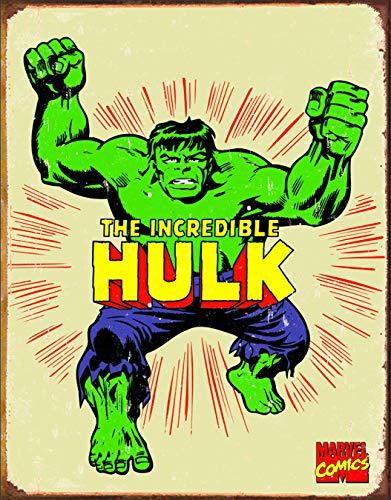 Desperate Enterprises Marvel Comics The Incredible Hulk Retro Tin Sign, 12.5' W x 16' H