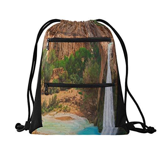 Sacs à cordon unisexes Vues incroyables sur le Grand Canyon Arizona Mini sac de sport pour femmes Sacs de sport pour femmes légers avec poche à glissière Sports Athletic School Travel Gym Cinch Sack