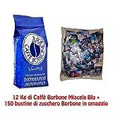 JSD–Caffè Borbone, Kaffeebohnen, blaue Mischung, 12Packungen à1kg, inklusive 150Zuckerbeutel der Marke Borbone, Originalprodukt