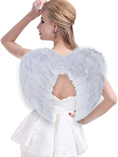 Angel Wings Costume Feather Angel Wing, Halloween Christmas Wings for Kids Girls Children Adults, Black/White