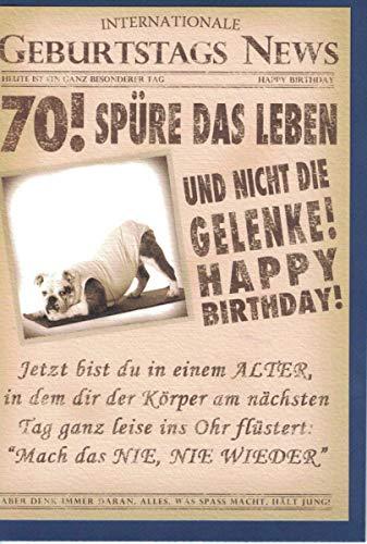 Glückwunschkarte zum 70. Geburtstag ~ Spüre das Leben, nicht die Gelenke