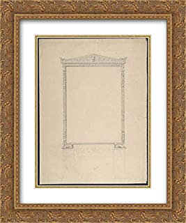 Anonymous Artist, French, 19th Century - 20x24 Gold Ornate Frame and Double Matted Museum Art Print - Design for an Over-Mantle Mirror Frame