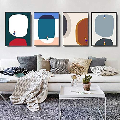 Abstraktes Bild Moderne Wanddekoration Wohnwand Leinwandbild Nordische Wandkunst Minimalist Bunte Dekoration Schilder und Drucke für Schlafzimmer 30 x 50 cm x 4 ohne Rahmen