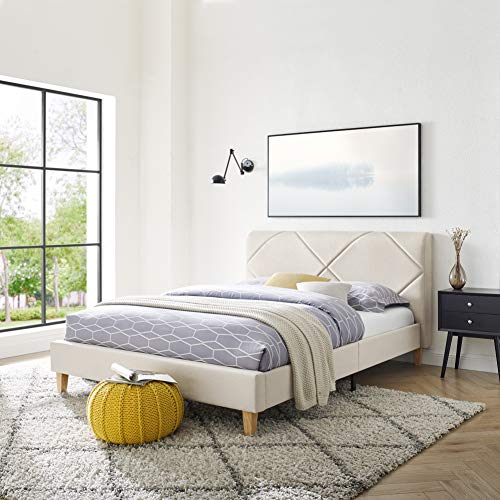Vibe Upholstered Platform Bed Frame | Headboard and Wood Slat Support Upholstered Platform Bed Frame | Headboard and Wood Slat Support, Full, Beige