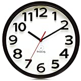 DreamSky 13 Inches Large Wall Clock, Non-Ticking Silent Quartz Decorative Clocks, Battery Operated, Round Retro Indoor Kitchen Bedroom Living Room Wall Clocks, Big 3D Number Display.