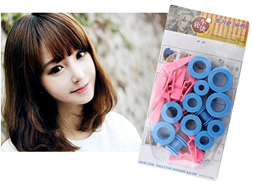 XYLUCKY Bricolage en plastique Styling Roller Curlers Clips Hair Curler Hair Tools 3 paquets, rose et bleu