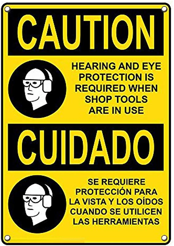 Weatherproof Plastic Vertical OSHA Caution Hearing Eye Protection Required Bilingual Sign With English Spanish Text And Symbol
