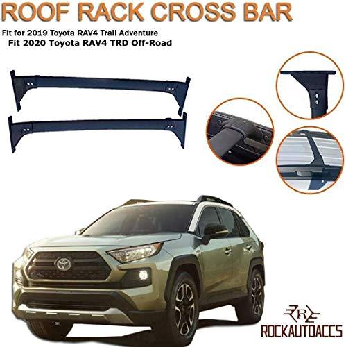 Roof Rack Crossbars Side Rail Cross Bar Fits 2019 2020 Toyota RAV4 Adventure TRD Off-Road | Black Premium Aluminum...