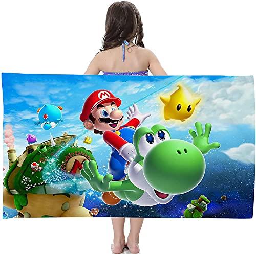 Toalla de playa de Super Mario Bros con impresión 3D, microfibra, toalla de playa, para natación, camping, fitness (Mario1, 75 cm x 150 cm)
