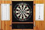 Viper Metropolitan Solid Wood Cabinet & Sisal/Bristle Dartboard Ready-to-Play Bundle: Deluxe Set (Dead On Dartboard and Darts), Oak Finish