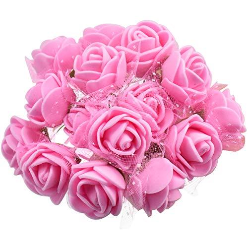 144 Stücke Stück Schaumrosen, Künstliche Foam Blumen mit Stiel, Foamrosen, Kunstblumen, Schaum Blumenköpfe Kunstblume Rosenstrauß für Hochzeit DIY Basteln Spielzeuge, 2cm (Rosa)