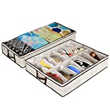 Ziz Home Under Bed Shoe Organizer (1 & 2 Pack) for Kids and Adults - 12 Pairs - Underbed Shoes Closet Storage Solution - Made of Breathable Materials with Front Zippered Closure - Easy to Assemble (1) (2)