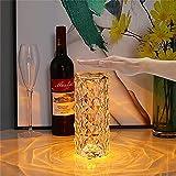 Lámpara de mesa de diamante ajustable de 3 colores Acrílico recargable por USB, Lámpara de mesa RGB de cristal, Lámpara de mesa de cristal Control táctil, creativa con LED de rosa (táctil) (Tricolor)