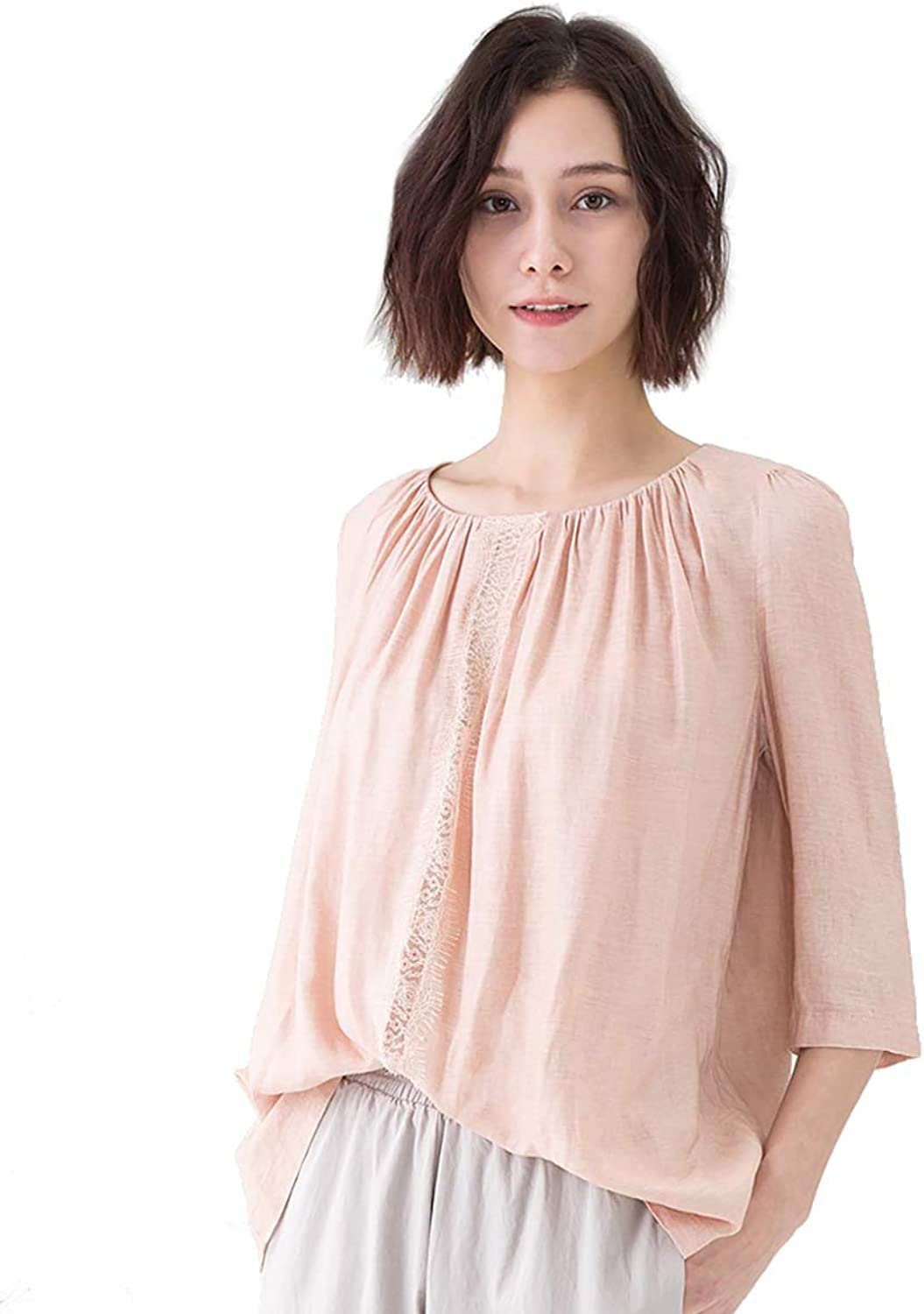 Amazhiyu Womens 3 4 Sleeve Blouses Top Cotton Linen ONeck Pleated Summer Casual Hollow Lace up Tee Shirts for Junior Ladies