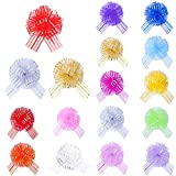 IHUIXINHE 17 Pcs Pull Bow Mixed Color Large Organza, Pull Bow Gift Wrapping Pull Bow with Ribbon for Wrapping, Decoration, Wedding Gift Baskets, 6 Inches Diameter