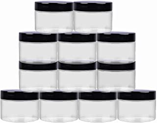 12 Pack 4oz Clear PET Plastic Jars with Black Lids; Low Profile Refillable Empty BPA-Free Containers Great for Cosmetics,K...