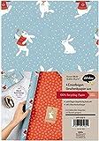 Geschenkpapier Set Weihnachten: Schneehase (für Kinder): 4x doppelseitige Einzelbögen + 4x Geschenkanhänger
