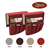 TALC Non-Slip Sofa Armrest Storage Organizer, Waterproof Couch Recliner Remote Control Holder with 5 Pockets Armchair Caddy for Ipad, Phone, Magazines, TV Remote Control –2 Packs (Red)