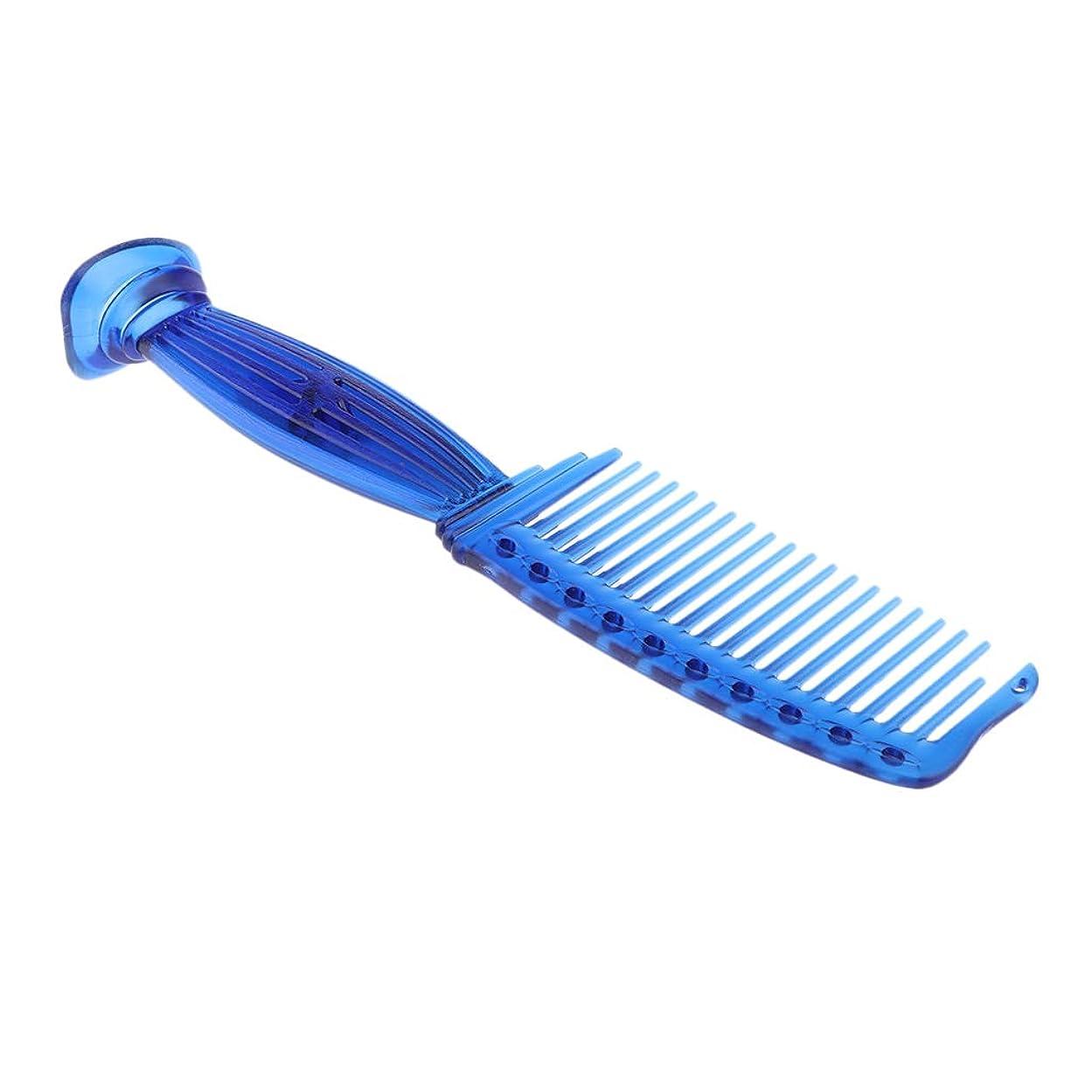 未来米ドル角度B Blesiya 櫛 ワイド歯 スムースコーム プラスチック ヘアブラシ 5色選べ - 青