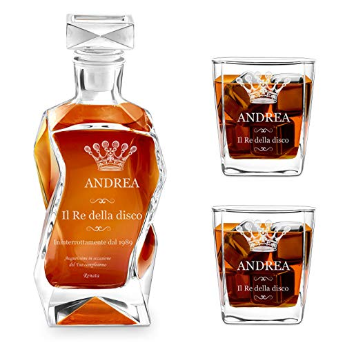 Murrano Set Decanter per Whisky in vetro - da 700 ml - incisione personalizzata - Caraffa con 2 bicchieri - idea regalo per il compleanno - per l' uomo - Corona reale