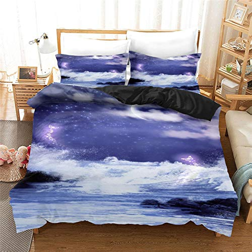 NHBTGH Duvet Cover Blue Sky Landscape Printed Polyester Bedding Set Single Size with Zipper Closure + 2 Pillowcases Easy Care Anti-Allergic Soft & Smooth