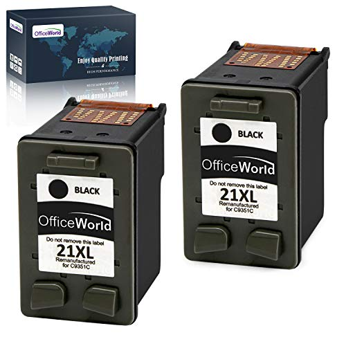 OfficeWorld Remanufacturado HP 21 21XL Negro Cartuchos de Tinta Compatible con HP Deskjet F4180 F2180 F2280 F2290 F380 F335 F390, HP Officejet 4315 4355 Impresora
