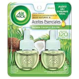 Air Wick® 2 Repuestos de Aromatizante de Ambiente Continuo para Aparato Difusor eléctrico, Aroma Serene Coconut Breeze, 20 ml c/u