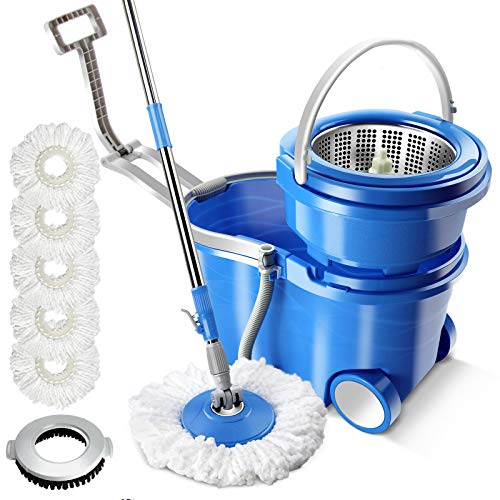 Sponge PVA Mop Buckets for Floor Cleaning 3 Replacement Head Refills Hands Free MASTERTOP Mop and Bucket with Wringer Set Stainless Steel 3 in 1 Lazy Mop with Bucket