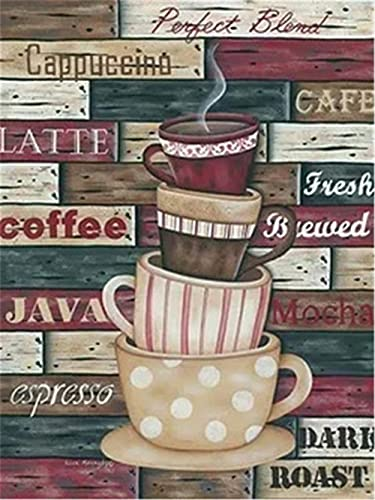 5D Bricolaje Pintura Diamante Kit Taza de café Cristal Diamantes de Imitación Bordado Punto de Cruz Diamond Painting para Decoración de la Pared del Hogar Adulto Niños regalo Round Drill 60x90cm F940