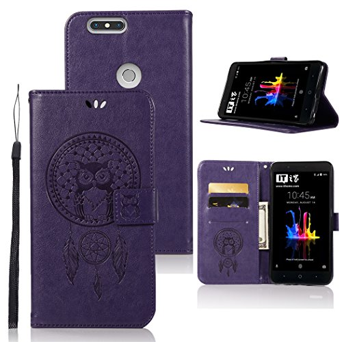 ZTE Blade Z Max Case, ZTE ZMax Pro 2 Case, ZTE Sequoia Case, Zoeirc Luxury PU Leather Wallet Flip Protective Case Cover with Card Slots and Stand for ZTE Z982 (Purple)