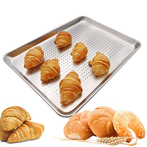 Firsmat Aluminum Perforated Half Sheet Pan For Baking Half Size Bakery Sheet Tray Metal Cookware Medium Bakeware 13x18 inches