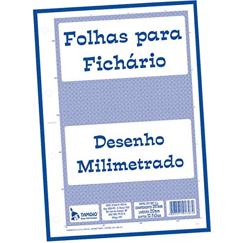 Bloco Para Fichário Universitário, Tamoio, Milimetrado, A4, 21x29,7 cm, 50 Folhas