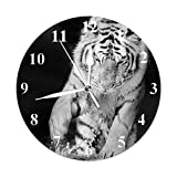 Beabes Black and White Fur Tiger Round Wall Clock Asian Wild Animal Panther Cat Water Nature Life Silent Non-Ticking Battery Operated Clock Easy Read Decor Living Room Home Office 10 Inch