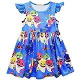 Crazy Gotend Girls Cartoon Shark Pattern Casual School Summer Dress Blue 5-6Y/130