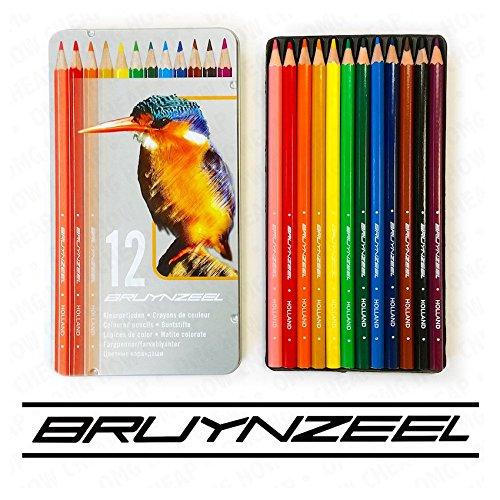 Bruynzeel - 12 Colouring Pencils in Kingfisher Design Metal Tin