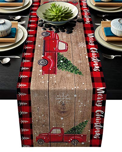 Cotton Linen Table Runner, Kitchen Table Runners for Family Dinner, Banquet, Parties and Celebrations, Merry Christmas Red Truck Pull Xmas Tree on Retro Wooden Board Table Decor, 16 x 72 inch
