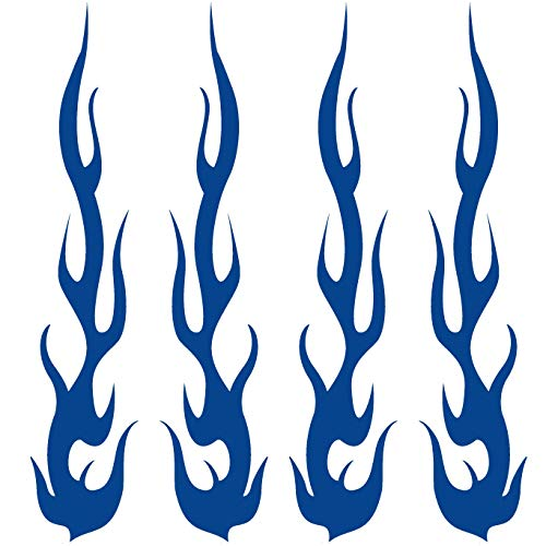 "CUSHYSTORE Blue Fire Tribal Flame Retro Reflective Decals Sticker for Motorcycle Bike Hard Hat Car Cane 5""x1"", 4 Packs"