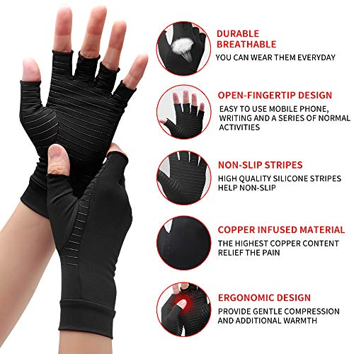 Waxden Copper Compression Arthritis Gloves, Best Copper Infused Glove for Women and Men, Fingerless Arthritis Gloves, Pain Relief and Healing for Arthritis, Carpal Tunnel, 1 Pair, Black (Large)
