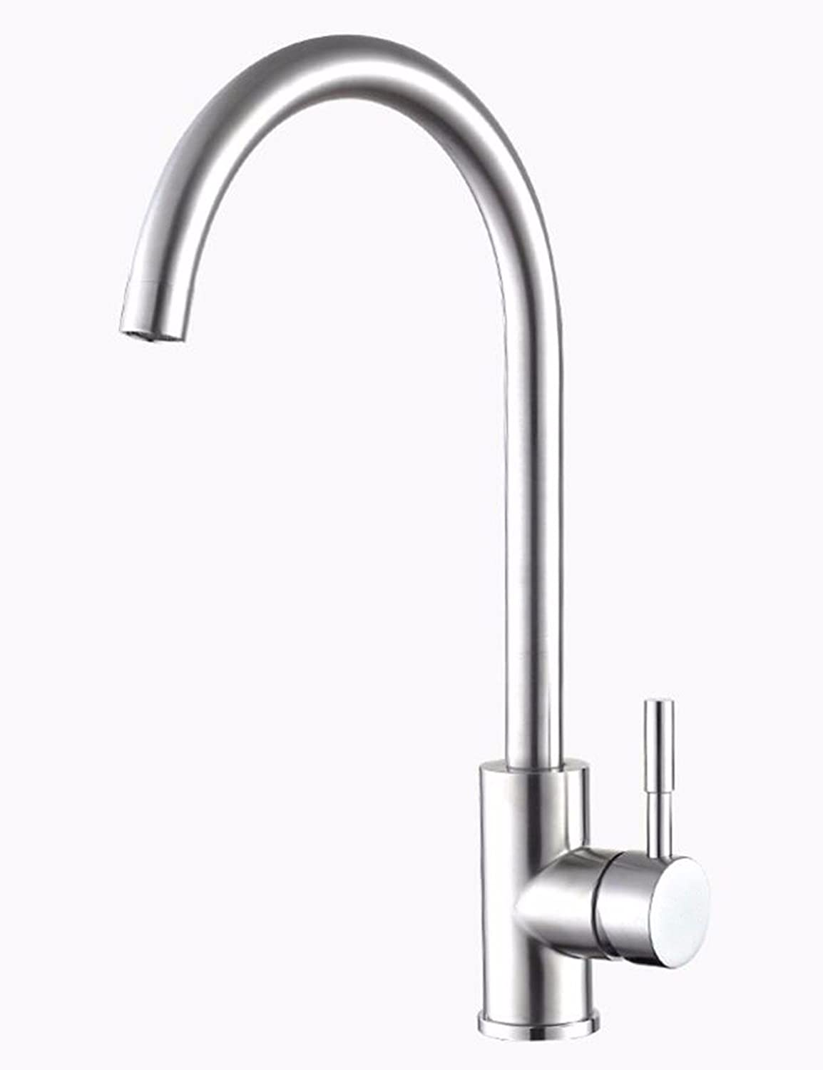 Hlluya Professional Sink Mixer Tap Kitchen Faucet Dish washing basin faucet and cold water faucet 304 stainless steel faucet swivel brushed Faucet