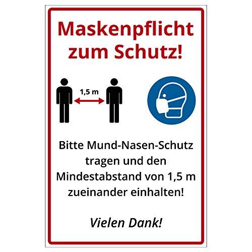 Hinweis-Schild 300x200 mm - Maskenpflicht und Mindestabstand zum Schutz, Warnschild aus PVC Hartschaum Platte 200x300 mm - 3 mm stark