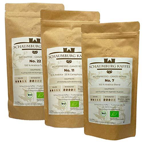☘️ Bio Espressobohnen & Kaffeebohnen Probierpaket 3 x 250 g | ganze Bohne | Schaumburg Kaffee