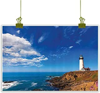 Sumilace Art Prints Oil Paintings Canvas, California Pigeon Point Lighthouse in Cabrillo Coastal Highway State Route Image Print Bathroom Kitchen Home Decorations - 16