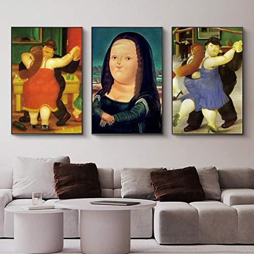 Lustige Mona Lisa Wandkunst Leinwandbilder Poster und Drucke von Fernando Botero Berühmte Moderne Wohnzimmer Wohnkultur Bilder -50x70cmX3 (kein Rahmen)