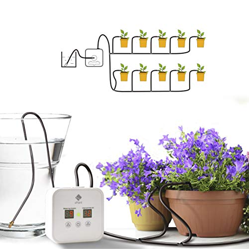 [Upgraded] Automatic Drip Irrigation Kit, Houseplants Self Watering System with 30-Day Digital Programmable Timer for 8 Indoor Potted Plants Vacation Plant Watering (Battery Version)
